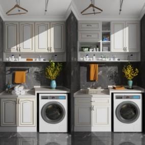 欧式滚筒洗衣机组合3D模型【ID:128401593】