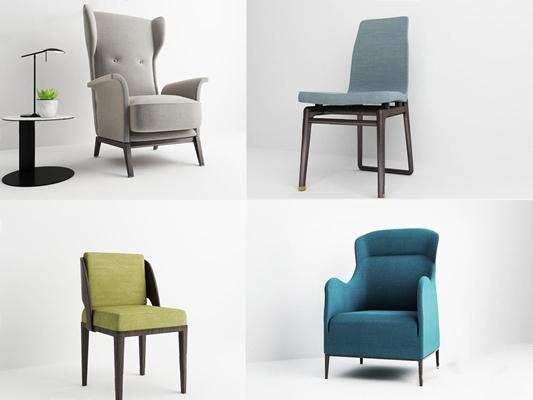 現代北歐休閑椅組合3D模型【ID:928188612】