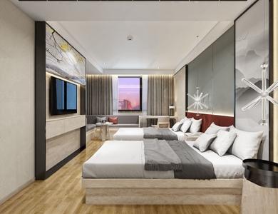 现代宾馆客房3D模型【ID:732413345】