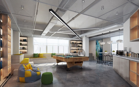 现代办公室休闲餐饮区3D模型【ID:820813158】