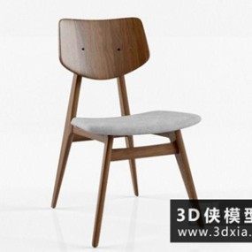 木质餐椅国外3D模型【ID:729708847】