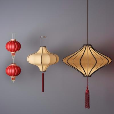 中式灯笼吊灯组合3D模型【ID:527804855】