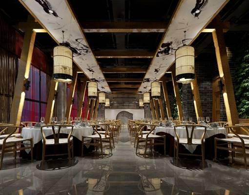 中式餐厅3D模型【ID:120618865】