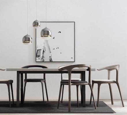 新中式餐桌椅组合3D模型【ID:327927404】