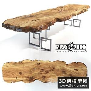 現代原木餐桌國外3D模型【ID:729315721】