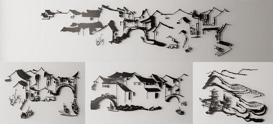 新中式鐵藝山水畫墻飾組合3D模型【ID:127869194】