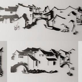 新中式铁艺山水画墙饰组合3D模型【ID:127869194】