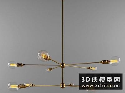 现代金属吊灯国外3D模型【ID:829410776】