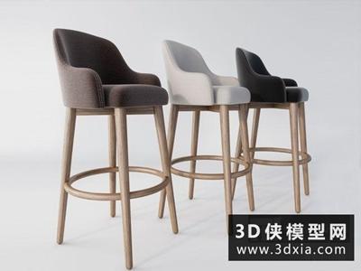现代吧椅国外3D模型【ID:729632842】