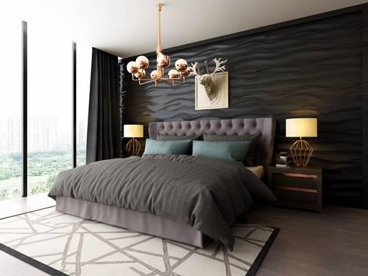 现代卧室3D模型【ID:419622355】