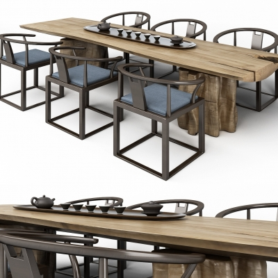 中式原木茶桌3D模型【ID:327793661】