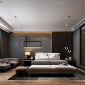 现代酒店客房3d模型【ID:747289365】