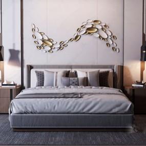 现代轻奢双人床床头柜组合3D模型【ID:728315097】