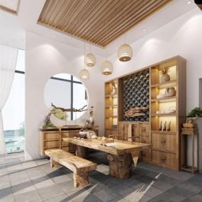 新中式茶室3D模型【ID:428257656】