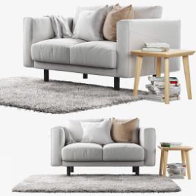 现代布艺双人沙发边几组合3D模型【ID:927831777】
