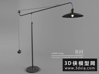北歐鐵藝落地燈國外3D模型【ID:929720074】