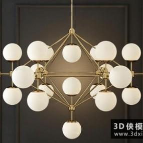 现代球形吊灯国外3D模型【ID:829344787】