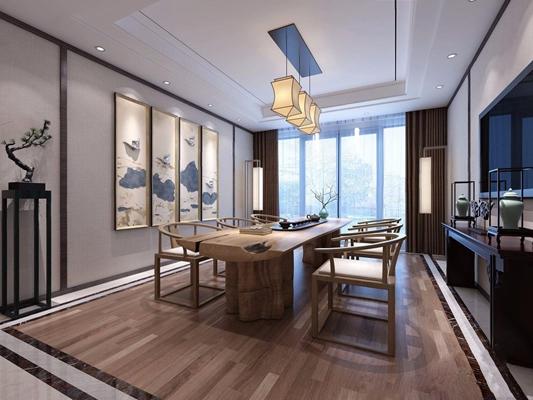 新中式茶室3D模型【ID:327920729】