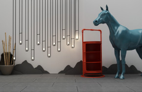 现代吊灯马雕塑油桶组合3D模型【ID:527798860】