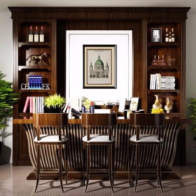 美式实木吧台餐具酒柜盆栽组合3D模型【ID:627806326】