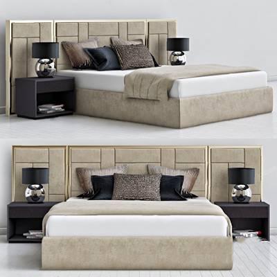 现代双人床3D模型【ID:720607062】