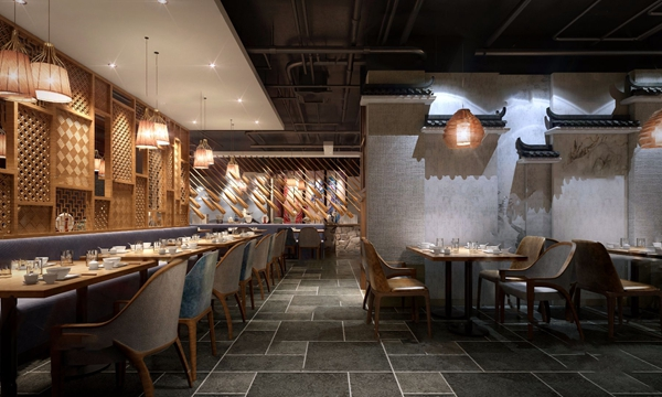 新中式主題餐廳3D模型【ID:645515220】