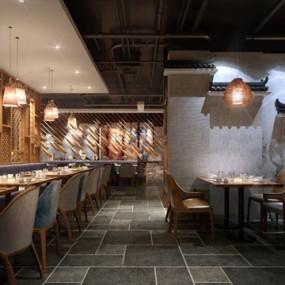 新中式主题餐厅3d模型【ID:645515220】