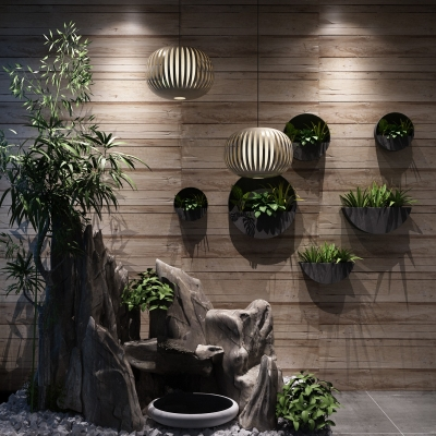 现代假山植物组合3D模型【ID:127772865】