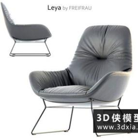 现代皮质休闲椅国外3D模型【ID:729524820】