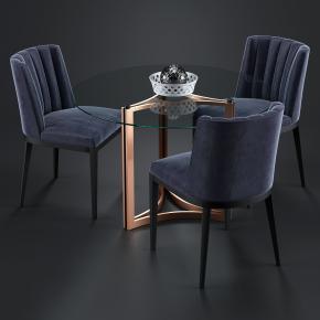 现代圆形玻璃桌椅组合3D模型【ID:327788600】