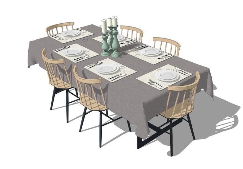 散座餐桌SU模型【ID:637108666】
