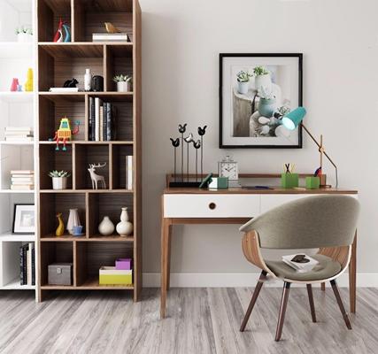 北歐書桌椅書架組合3D模型【ID:327915793】