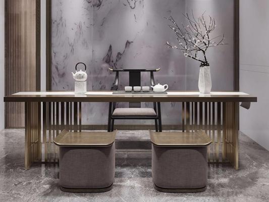 新中式茶桌椅組合3D模型【ID:328241620】