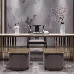 新中式茶桌椅组合3D模型【ID:328241620】