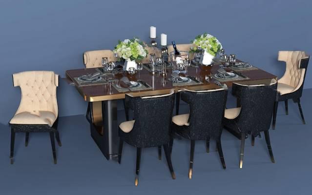 后现代餐桌椅组合3D模型下载【ID:319451408】