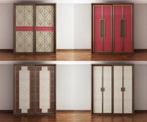 新中式实木衣柜组合3D模型【ID:927819981】