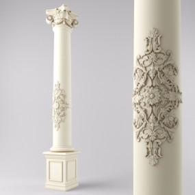 欧式石膏罗马柱3D模型【ID:628459915】