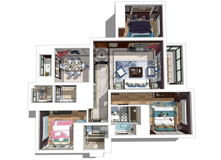 新中式三房两厅室内设计SU模型【ID:437109945】
