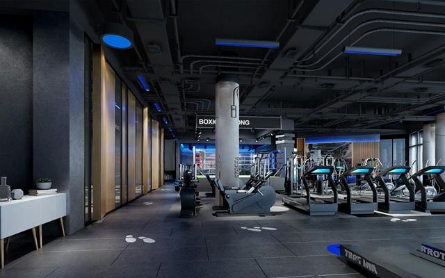 工业风健身房 工业风娱乐会所 健身器材 跑步机