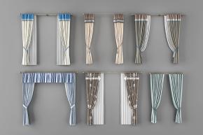 现代罗马杆布艺窗帘组合3D模型【ID:327784875】