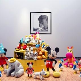 现代儿童玩具布偶展柜3D模型【ID:527801778】