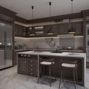 新中式厨房3D模型【ID:528014038】