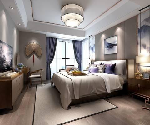 中式卧室3D模型【ID:419616345】
