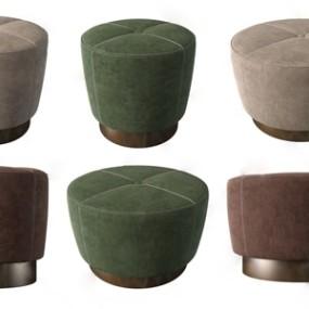 现代绒布凳子组合3D模型【ID:734898679】