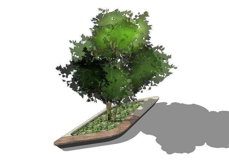 树池坐凳SU模型【ID:937109799】