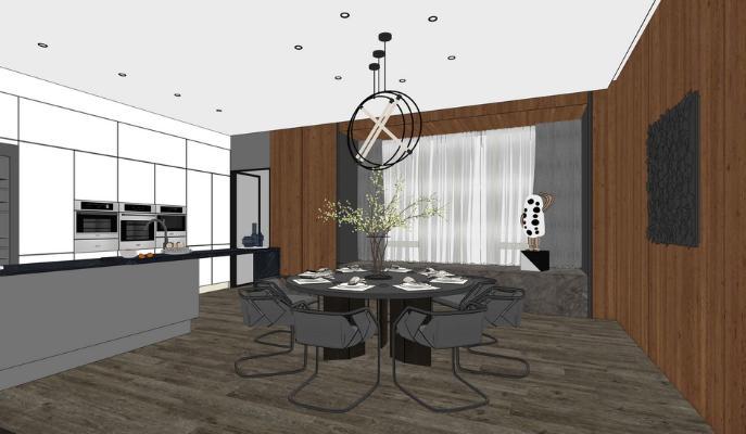 現代餐廳SU模型【ID:545618323】