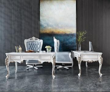歐式古典書桌椅組合3D模型【ID:934735059】