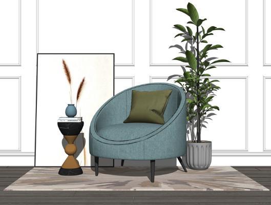 现代单人沙发SU模型【ID:347250784】