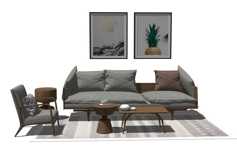 北欧风格客厅沙发茶几组合SU模型【ID:437110121】
