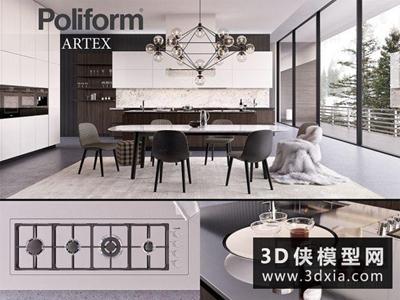 現代廚柜組合國外3D模型【ID:829414033】